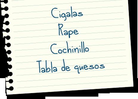 Lista de la compra: Angulas, Cigalas, Rape, Cochinillo y Tarta de queso