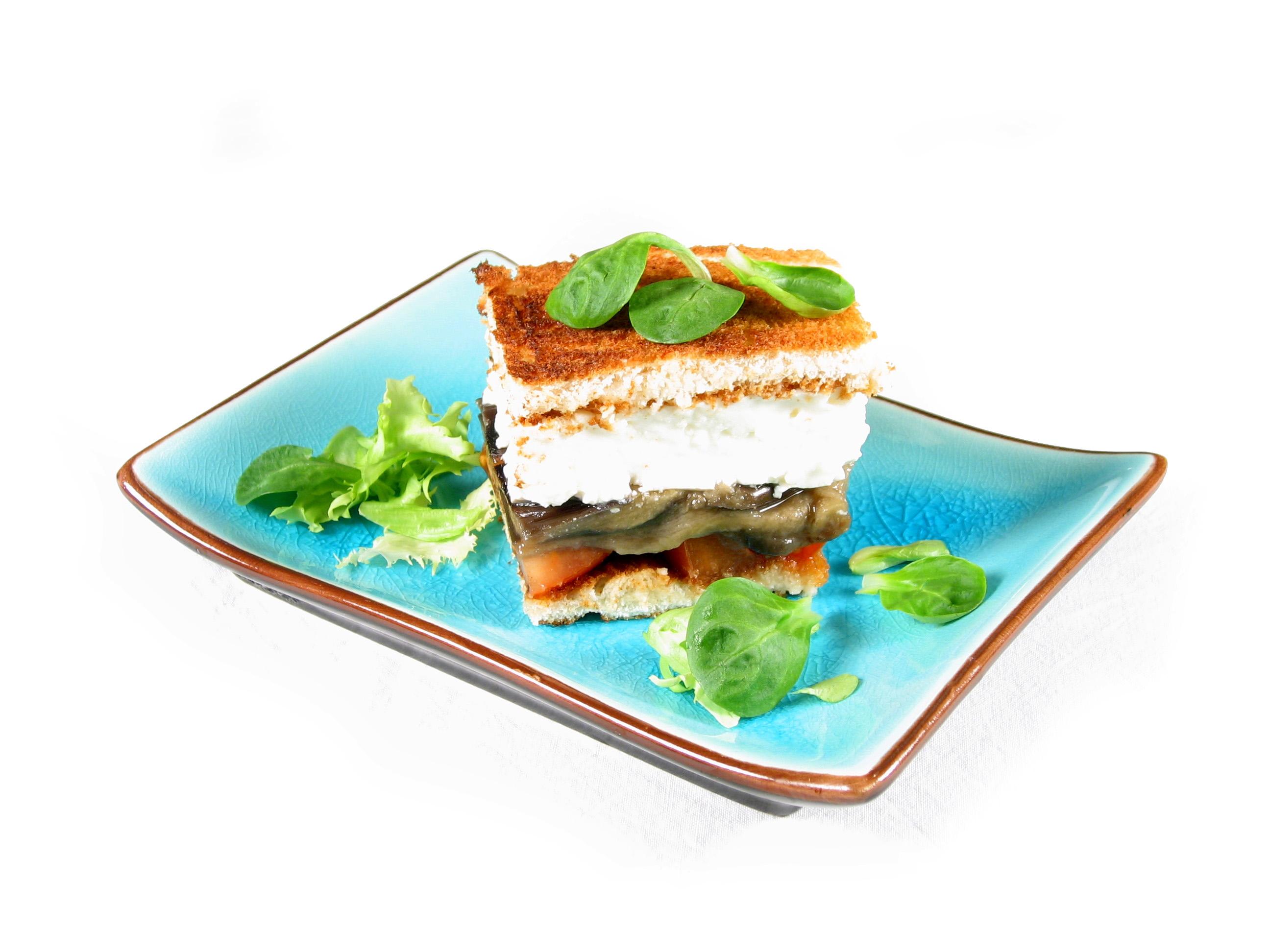 Sándwich de berenjena con pan de molde 100% natural sin corteza EROSKI