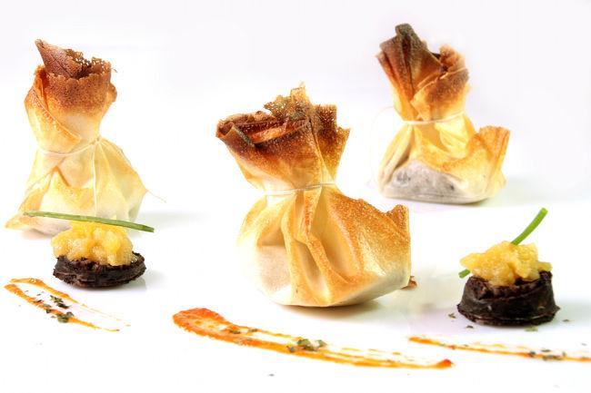 Saquitos de morcilla y manzana golden Eroski NATUR
