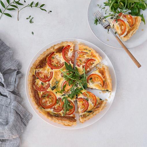 quiche de espinacas y tomates