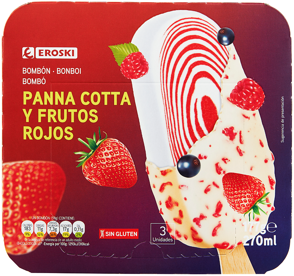 Nuevos helados EROSKI Bombón Panna Cotta y frutos rojos