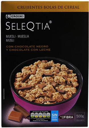 Muesli con chocolate negro y chocolate con leche EROSKI Seleqtia