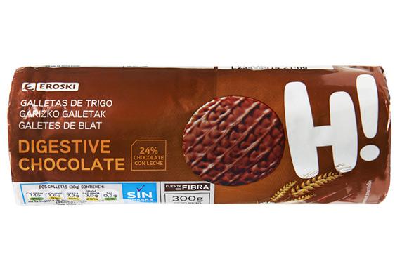 Galletas de trigo digestive chocolate EROSKI