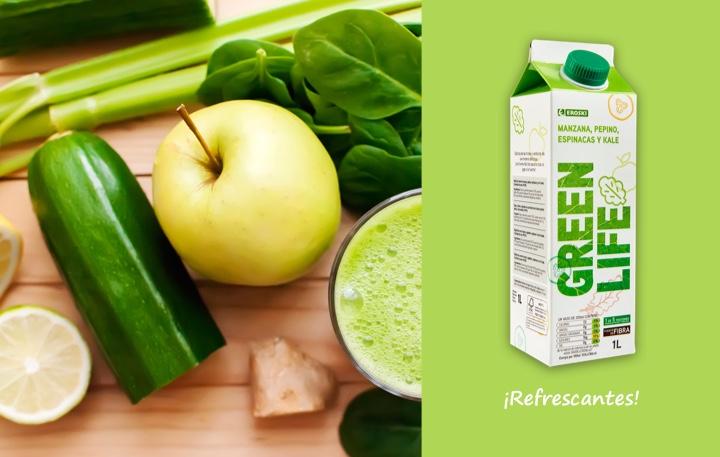 Nuevo zuno de frutas y verduras Green life EROSKI