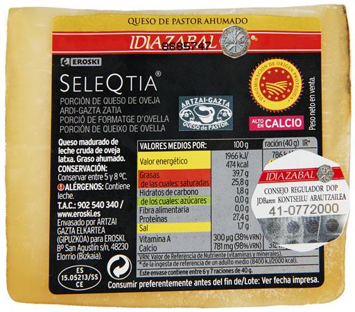 Porción de queso de oveja ahumado DO Idiazabal EROSKI Seleqtia