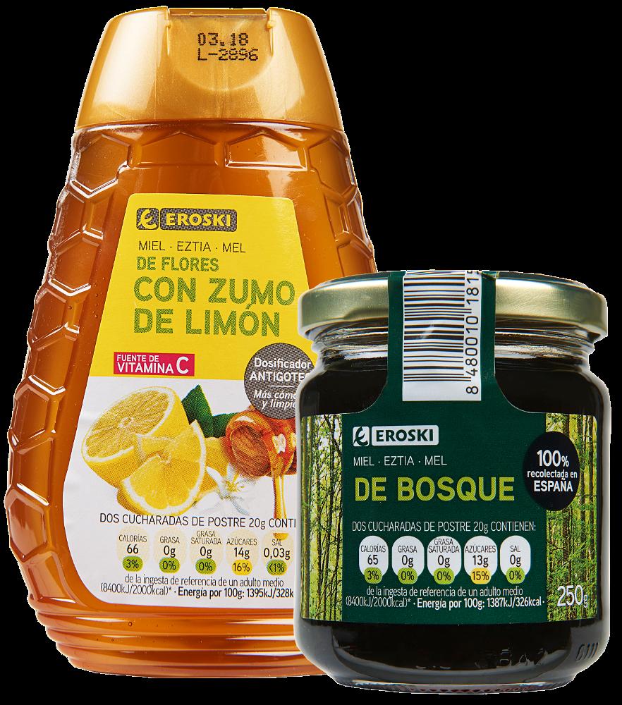 Nuevas mieles EROSKI con zumo de limón y de bosque