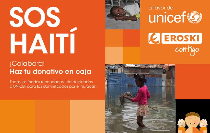EROSKI, recauda fondos para Haití en coordinación con UNICEF